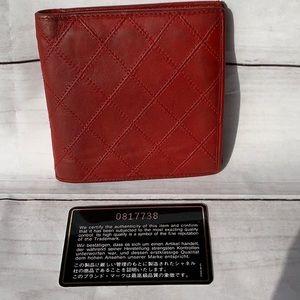 CHANEL Diamond Red Quilt Lambskin Wallet